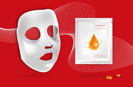 Facial White Sheet cosmetic cloth face mask and sachet package with Falling drop of golden liquid and shiny molecules around. Beauty product packaging design for skin care emulsion, cream, serum 向量圖像