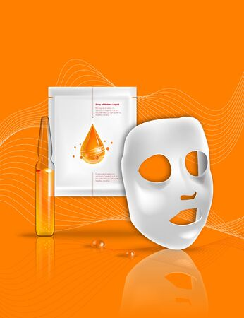 Facial sheet mask, sachet package. Transparent Glass Ampoule liquid drug solution. Beauty product packaging design. Template with label and logo for skin care emulsion, cream, serum 向量圖像