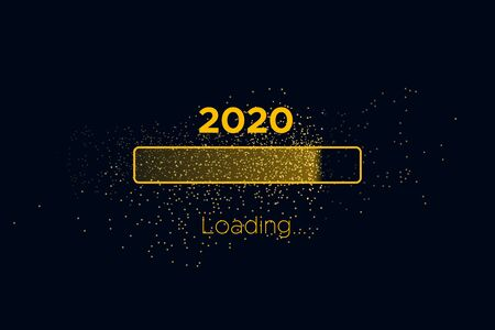 Progress bar with golden particles on black Download New Year's Eve. Loading animation screen with Glitter confetti shows almost reaching 2020. Creative festive banner with shiny progress bar