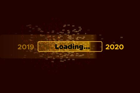 Progress bar with golden scattering of numbers 2 and 0 on black Download New Years Eve. Loading animation screen with confetti shows almost reaching 2020. Creative festive banner with progress bar