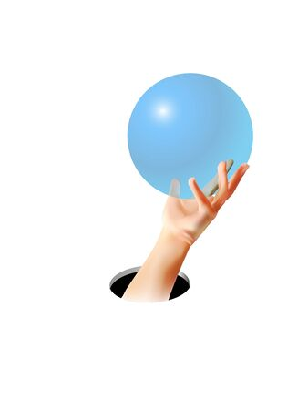 Hand holding something through hole on white. Body language concept. Hand sign. Hole in wall. Somebody unrecognizable grabbed and holds ball, circle, sphere, disc.Realistic vector Gesture Illustration