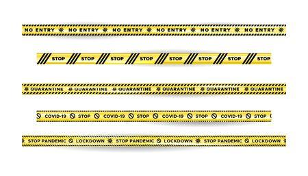 Warning Danger quarantine tape fencing. Black and yellow quarantine stripes.