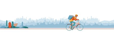 Delivery Boy worker of fast delivery service. Bicycle courier, Express Online ordering mobile app. Man on bicycle with parcel box on backpack delivers food In city. Ecological courier carrier service Vettoriali