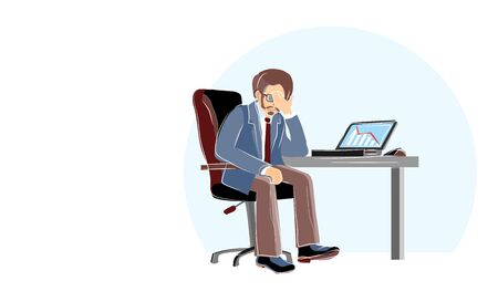 Economic crisis, professional bankruptcy. Businessman closes his face by hands. Worried and stress in pay. Depression frustrated person have financial problem. Risky business ruins. Cartoon vector