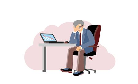 Economic crisis, professional bankruptcy.Old businessman closes his face by hands. Worried and stress in pay. Depression frustrated person have financial problem. Risky business ruins. Cartoon vector