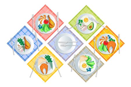 Ketogenic diet nutrition. White plate full of healthy food: avocado, bacon and scrambled eggs,low carb high healthy fats. Vector illustration for keto friendly eating set Illustration