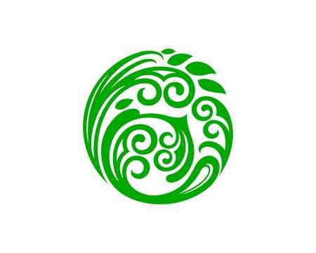 Abstract circle leaf illustration.