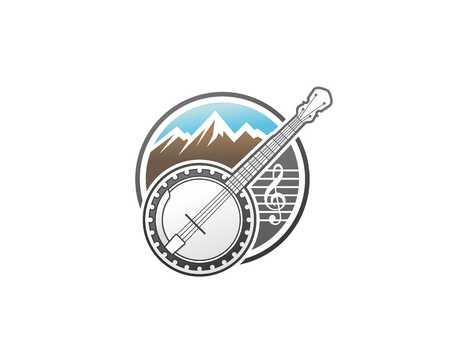 Banjo and mountain illustration.