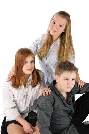 Three sitting teens