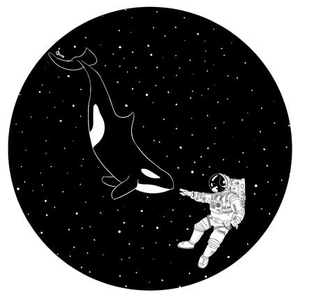 Astronaut and orca in outer space. Vector illustration Illustration