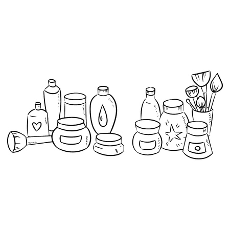Hand drawn set of cosmetic bottle silhouette on white background