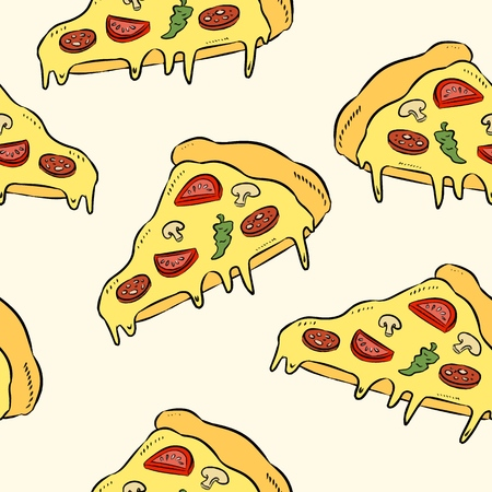 Hand draw pizza. Doodle pizza seamless pattern background. Fast food seamless vector pattern.  イラスト・ベクター素材