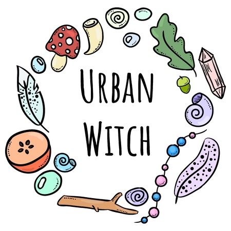Urban witch lettering with colorful doodles in circle ornament