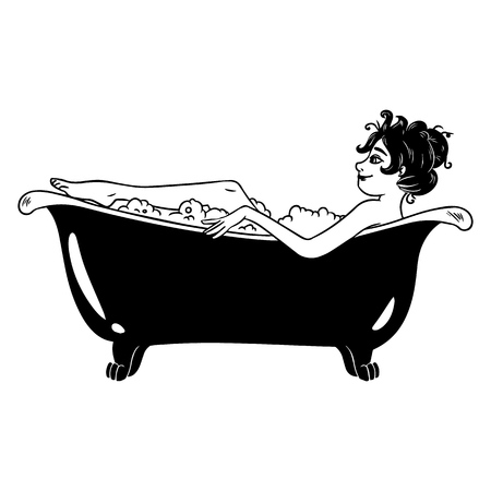 Cute pin-up style female character takes a bath. Vector image.