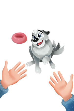 Cute grey puppy sitting and wagging his tail. Hands open gesture. Adoption