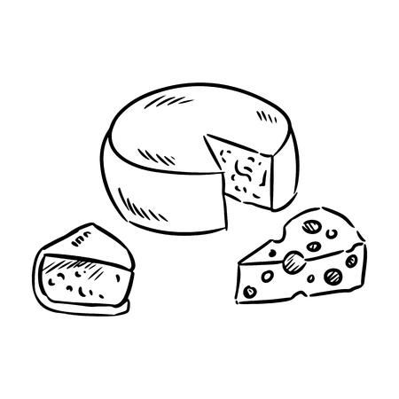 Ensemble de fromages dessinés à la main doodle croquis bio