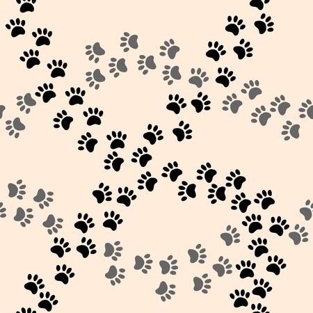 Paw print vector seamless cartoon pattern. Vector print