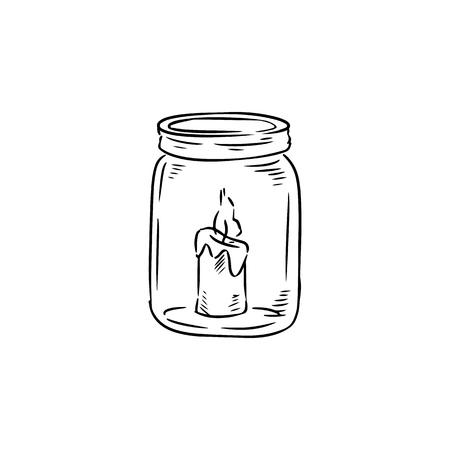 Bougie dans le bocal doodle croquis. Lumière de bougie à l'intérieur de la bouteille. Image lineart dessinés à la main