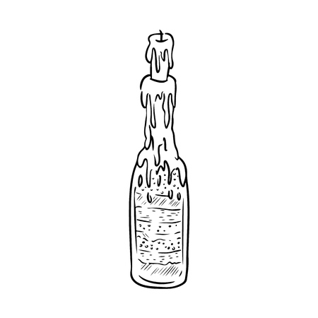 Witch bottle doodle sketch. Bottle filled with magical ingredients. Vectores