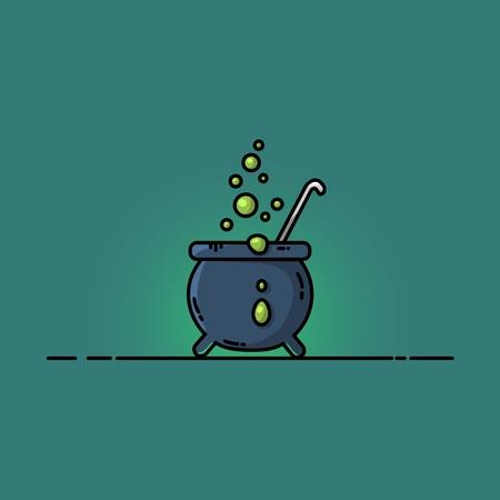 Magic cauldron flat illustration. Vector cartoon style