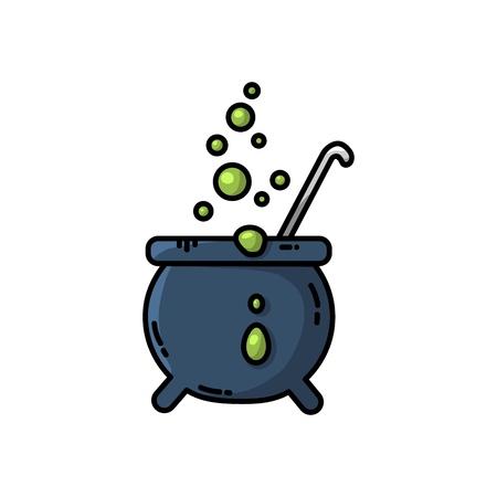Magic cauldron flat icon. Vector isolated cartoon style