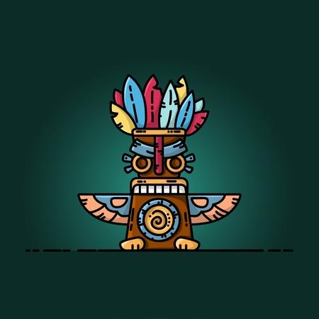 Colorful totem flat vector illustration. Tribal symbol Vettoriali