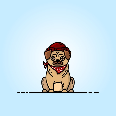 Pug flat illustration. Pictogram for web, mobile and infographics 向量圖像