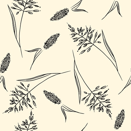 Field herbs seamless boho pattern. Vector illustration Ilustrace