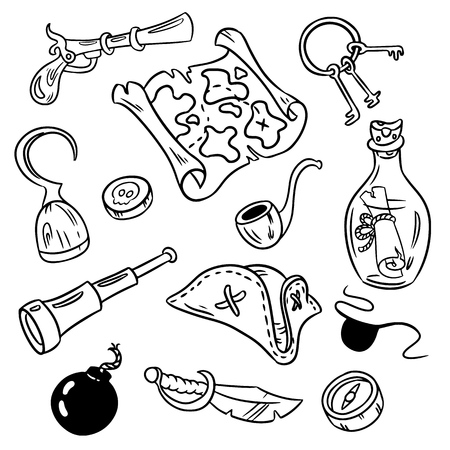 Set of pirate doodles. Vector art isolated pirate objects