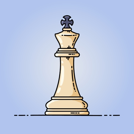 Chess king vector flat icon. Vector illustration on blue background