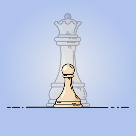 White pawn becomes queen. Vector flat illustration Vettoriali