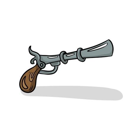 Black Powder Gun. Vector pirate gun isolated