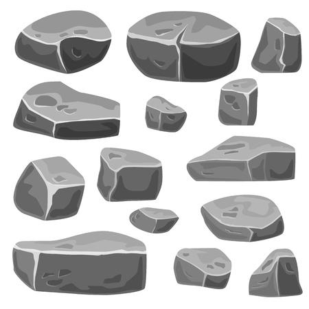 Set of stones for game art. Grey rocks