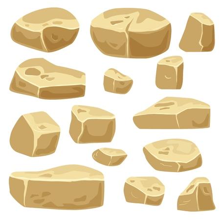 Set of desert stones for game art. Rocks isolated Ilustrace