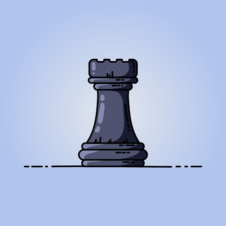 Chess black rook vector flat icon. Vector illustration on blue background