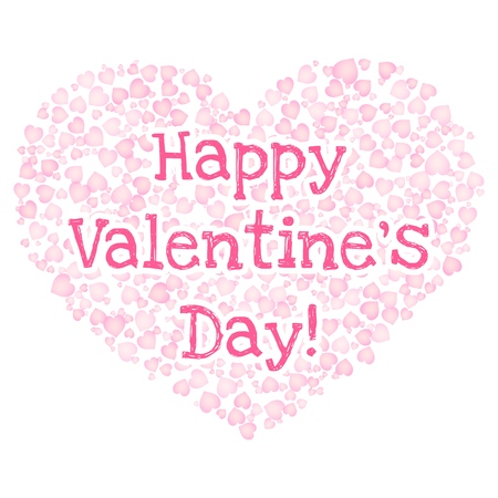 Happy Valentines Day text in a heart shape of pink hearts on white background