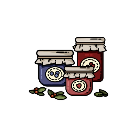 Set of jam jars flat colorful style. Isolated vector image