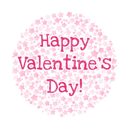 Happy Valentines Day text in a circle shape of pink stars on white background Illustration