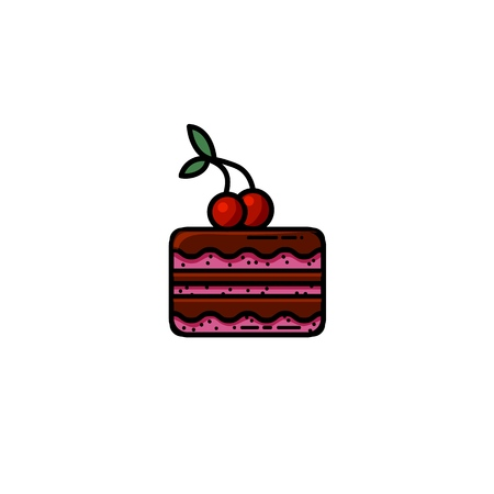 Delicious chocolate cake with a cherry on top flat icon