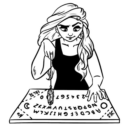 Ouija board and pendulum witch divination. Vector illustration