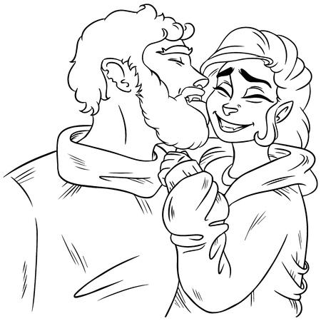 Cute couple. Boy licking girl on the cheek