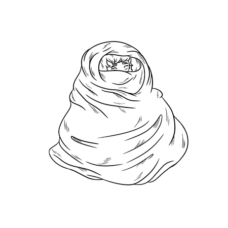 Girl in warm cozy blanket. Outline coloring illustration Stock Illustratie