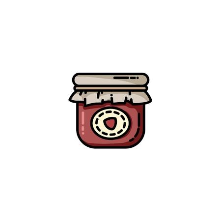 Icône plate colorée de pot de confiture de vecteur. Image vectorielle isolée