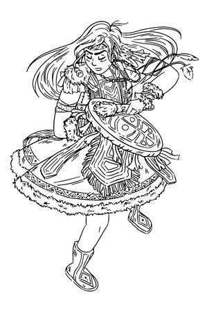 Fille de chaman dansant avec un croquis noir et blanc de tambourin