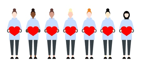 Set of diverse race vector women holding hearts. Valentine Day sisterhood cute and simple modern flat style