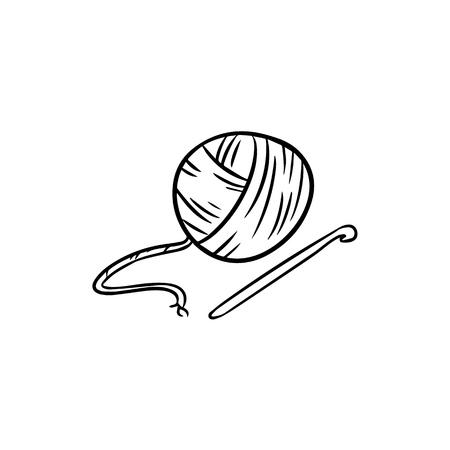 Yarn doodle. For print, creative design. Vector illustration. Vektorové ilustrace