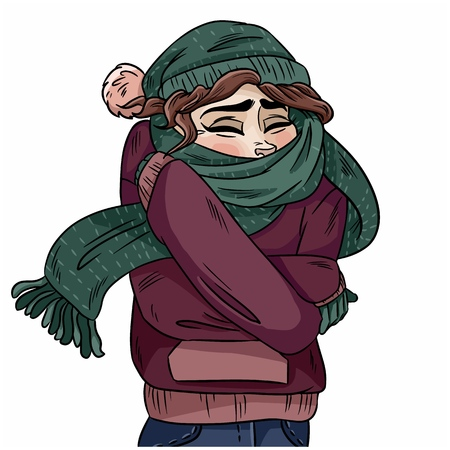 Girl in warm cozy scarf. Vector hand-drawn color illustration