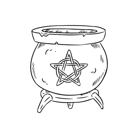 Magic cauldron with pentagram doodle sketch. Hand drawn wiccan design. Alchemy, potions symbol