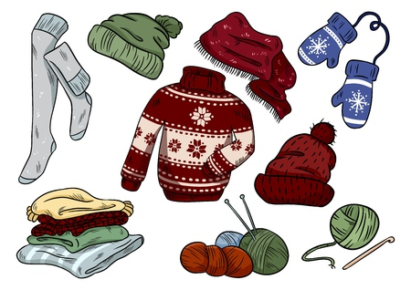 Cozy hygge doodles. Cute clothes casual stickers. Plaids, yarn, knitting, cap, hat, sweater, stockings, mittens
