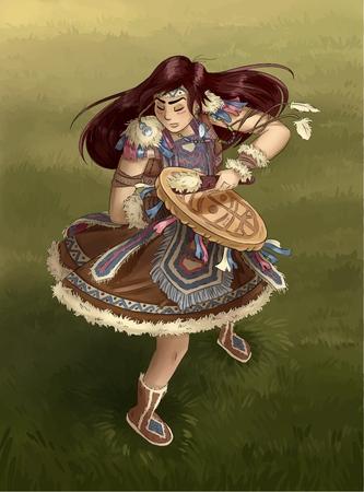 Shaman girl dancing with tambourine. Postcard illustration Vector Illustratie